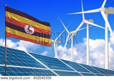 Uganda Solar And Wind Energy, Renewable Energy Concept With Windmills - Renewable Energy Against Glo