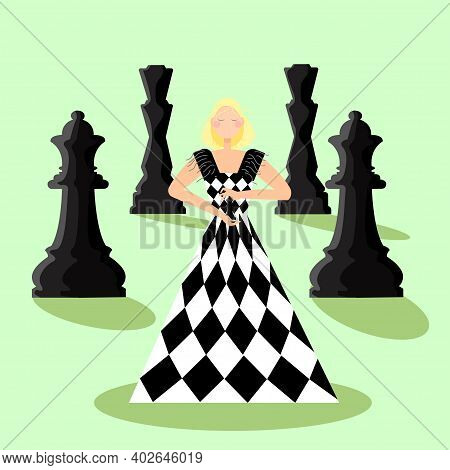 A Young Woman In A Chessboard Dress Holds The Figure Of The Queen In Her Hands. Her Eyes Are Closed,