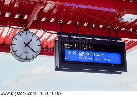 Gdansk, Poland - January 10, 2021: Platform Of Pomeranian Metropolitan Railway In Gdansk