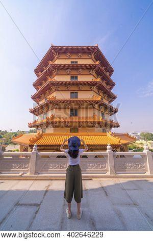 Asian Woman Traveling At Goddess Guan Yin Shrine, Fo Guang Shan Thaihua Temple, Bangkok City, Thaila