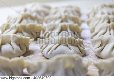 Raw Gyoza. Ready For Cooking. Japanese Version Of Dumplings. Shallow Depth Of Field. Close-up