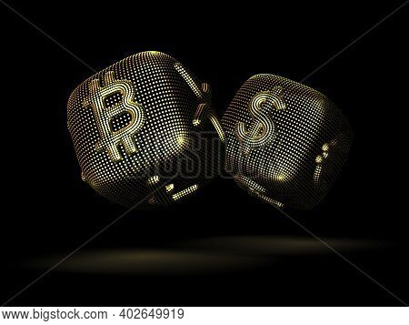 Digital 3d Golden Dices With Cryptocurrency And Fiat Currency Signs Bitcoin And Dollar. Concept Of F