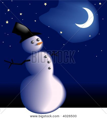 Snowman Under Frosty Cold Winter Night Sky