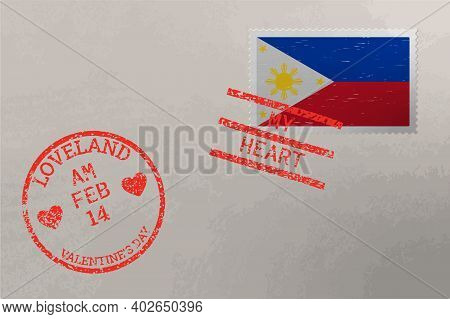 Postage Stamp Envelope With Philippines Flag And Valentines Day Stamps, Vector
