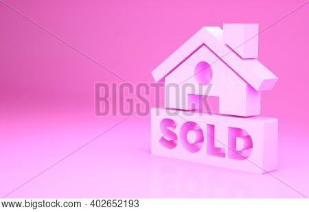 Pink Hanging Sign With Text Sold Icon Isolated On Pink Background. Sold Sticker. Sold Signboard. Min