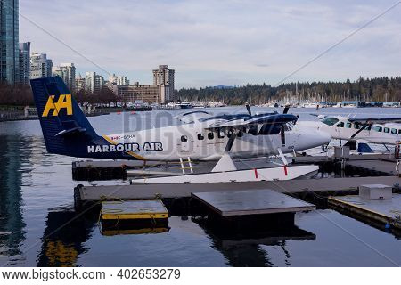 January 9,2021 Vancouver British Columbia Canada Harbour Air Seaplane Docked At Terminal In Coal Har