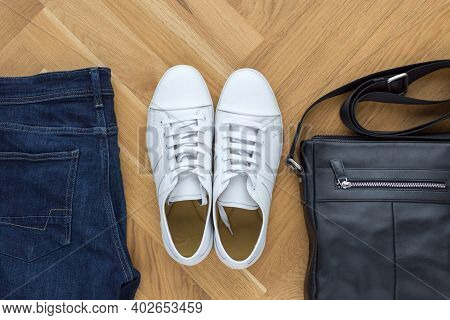 Overhead View Men Casual Outfits On Wooden Background