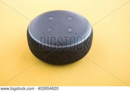 Smart Speaker, Smart Home Assistant, Smart Home Device, Black On Blue Background