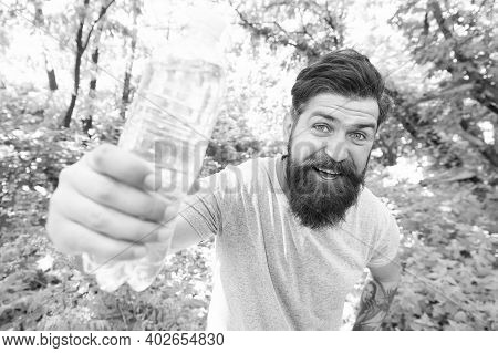 Fix It All With H2o. Brutal Caucasian Hipster With Moustache. Bearded Man Drink Water. Ready For Cam