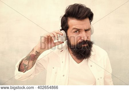 Perfect Sound Concept. Electronic Dance Music And House Tracks. Instrumental Music. Bearded Man Head