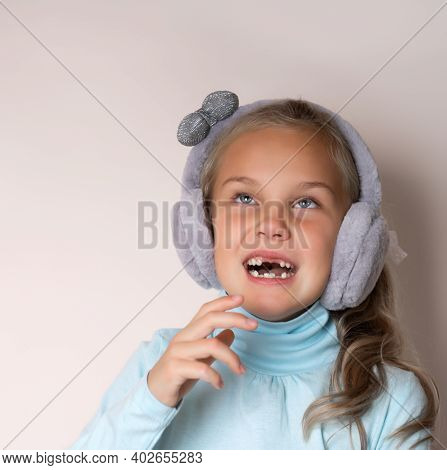 Cute Toothless Girl In Soft Headphones Is Trying To Sneeze.. Comic, Caricature, Humor. Illness, Infe