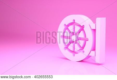Pink Dharma Wheel Icon Isolated On Pink Background. Buddhism Religion Sign. Dharmachakra Symbol. Min