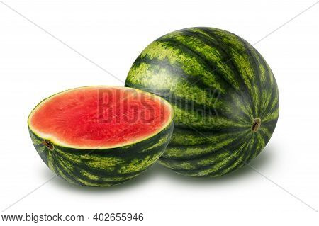 Whole And Half Watermelon Isolated On White Background. Seedless Watermelon. Clipping Path Included.