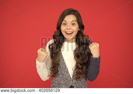 We Have A Winner. Happy Winner Red Background. Small Girl Make Winner Gesture. Celebrate Victory Or