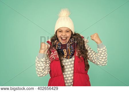 Finally Vacation Time. Stay Active This Season. Kid Wear Knitted Warm Clothes. Just Have Fun. Winter