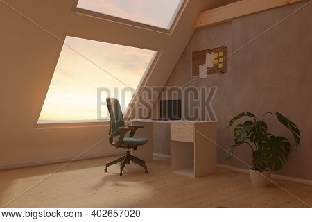 3d Rendering Of Bright Attic Home Office Interior With Concrete Wall And Laminate Floor