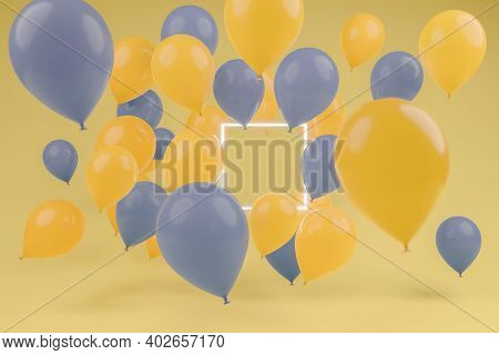 3d Rendering Of Lighten Square Frame Covered By Blue And Yellow Balloons