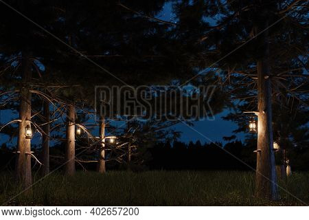 3d Rendering Of Forest At Night With Hanging Lighten Storm Lantern