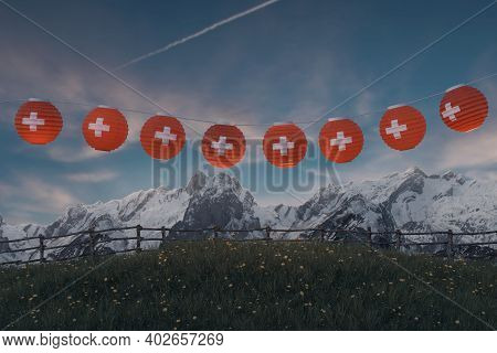 3d Rendering Of Hanging Lighten Lantern Covered With Swiss Flag Over Mountain Pasture With View To T