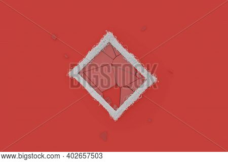 3d Rendering Of Rotated White Picture Frame Embraced With Wire And Shattered Glass Laying On Red Bac