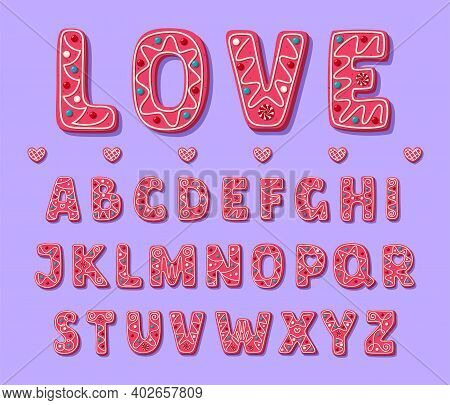 Pink Sweet Valentine Font. Cute Cookies Alphabet. Friendly And Lovely Font In Cartoon Style. Vector