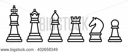 Chess Pieces. King Queen Rook Pawn Knight And Bishop. Vector Illustration Icons Set In Outline Style