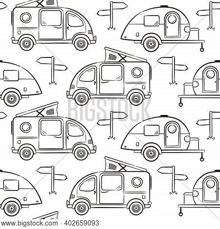 Seamless Pattern Of Hand-drawn Caravan Trailer And Minivans. Black And White Retro Campers For Color