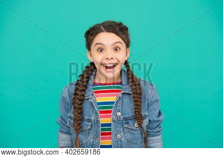 Lets Create Your Perfect Smile. Happy Kid Wear Plait Hair In Braids Blue Background. Dental Hygiene.
