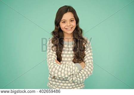 Look More Beautiful. Happy Child With Beauty Look Blue Background. Little Girl With Fashion Look Of