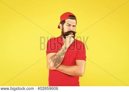 Unshaven And Bearded. Bearded Man Yellow Background. Hipster With Bearded Face. Shaving Salon. Beard