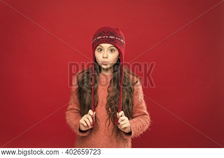 Its Cold Outside. Winter Outfit. Little Kid Wear Knitted Hat. Stay Warm. Little Girl Winter Fashion