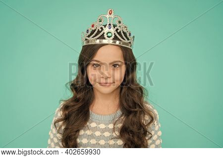 Corona Means Crown. Lady Little Princess. Dreams Come True. Kid Wear Crown Symbol Of Princess. Girl