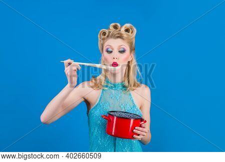 Pin-up Style With Cooking Utensils. Retro Style Housewife. Pin Up Woman Cooking In Kitchen. Cooking,