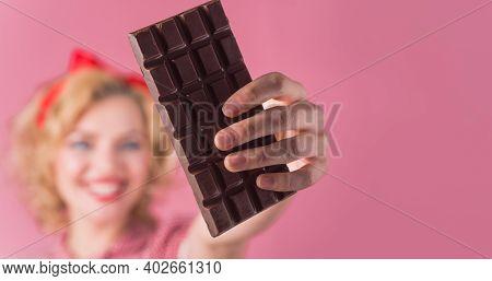 Chocolate. Sweet Food. Pin Up Girl With Chocolate In Hand. Retro Girl With Chocolate. Cocoa. Selecti
