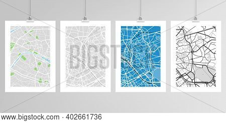 Realistic Vector Layouts Of A4 Format Mockup Design Templates With Urban City Map Of Paris For Broch