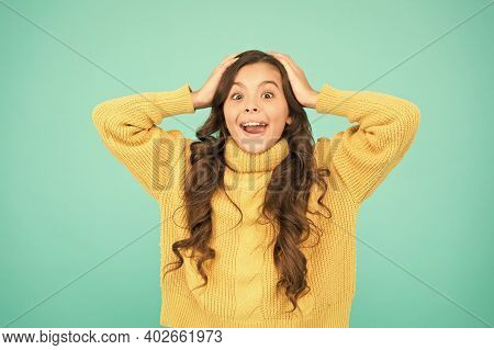 Adorable Surprised Girl Wear Yellow Sweater Turquoise Background. Surprise Concept. Good Vibes. Emot