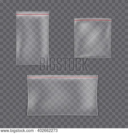 Set Transparent Zip Bags. Isolated Closed Vector Packages. Empty Transparent Plastic Bag With A Zipp