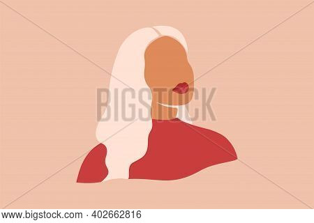 Silhouette Of Woman With Blonde Hair. Abstract Female With White Skin Portrait. Vector Illustration