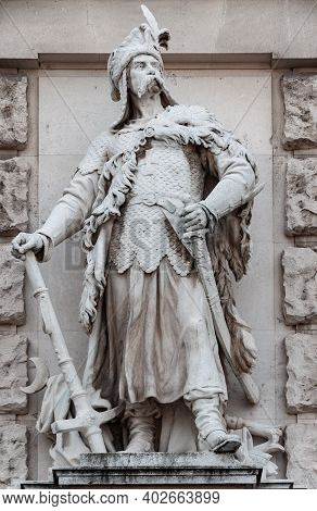 Vienna, Austria - July 31, 2019: Statue Of Magyar Or Hungarian Chieftain At The Wall Of New Castle W