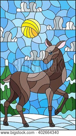 Illustration In Stained Glass Style With A  Deer On The Background Of A Winter Landscape