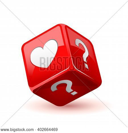 Red Dice Icon. Love Does Not Love Question