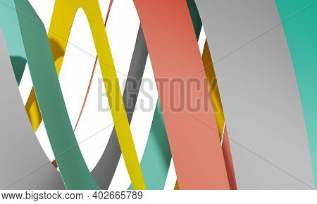 Abstract Cgi Background With Colorful Spiral Stripes, 3d Rendering Illustration