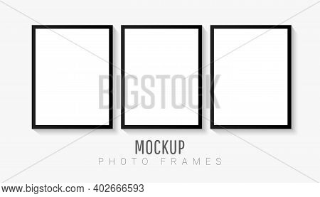 Empty White Picture Mockup Template Set With Black Frame Isolated On White Background. Vector Illust