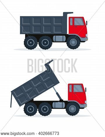 Two Red-gray Dump Trucks With Closed And Open Body. Vector Illustration On White Background.