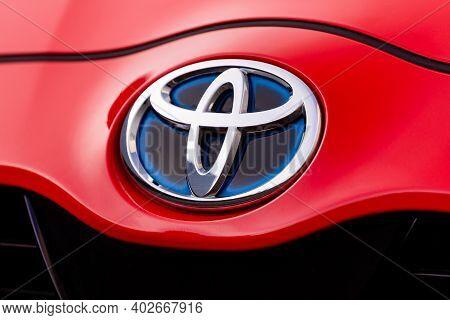 Prague, Czech Republic - December 8, 2020: Logo Of Toyota Vehicle In Prague, Czech Republic, Decembe