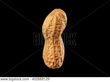 Dried Peanut Macro Isolated On Black Background. Object In The Center.