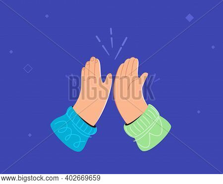 Two Hands Are Giving A High-five. Concept Vector Illustration Of Hands Gesture High Five Isolated On
