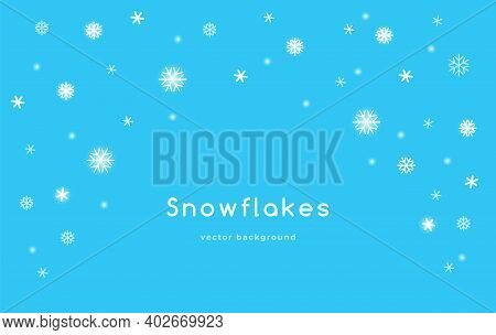 Snowflakes Falling Background For Winter Seasonal Decoration. Flat Vector Illustration Of Snowfall A