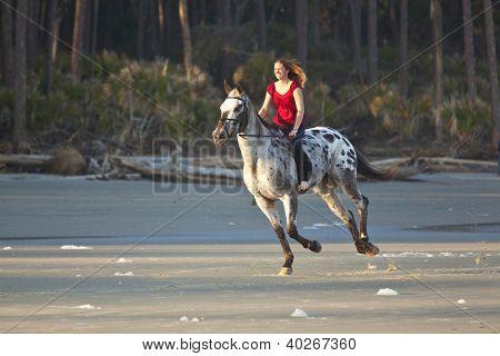 woman riding horse bareback on the beach