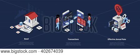 Set Of Three Vector Compositions On Money And Banking Concept. Isometric Illustration In Cartoon 3d